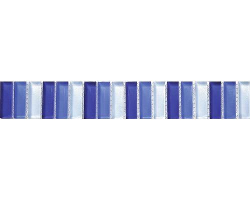 Bordure verre baguette, mix bleu, 30 x 5 cm