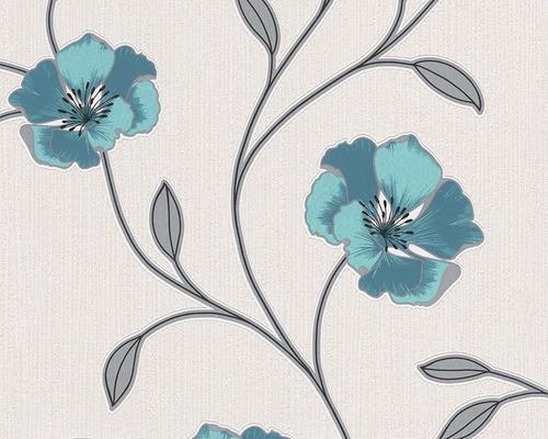 Papier peint vinyle 2924-21 Pandora floraison turquoise