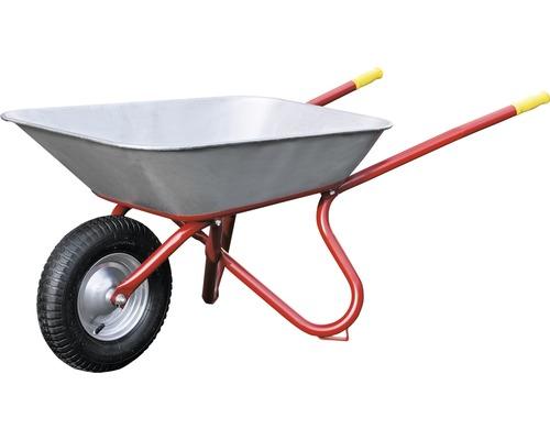 Brouette de chantier Pro CAPITO EXPORT 85 litres, cuve plate, pneu avec bague d''arrêt et jante en acier, y compris poignées ergonomiques en bois de hêtre