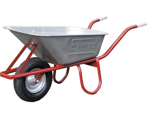 CAPITO Profi Tiefmuldenkarre EUROCAR 100 Liter Tiefmulde, Lufträder mit Blockprofil und Stahlfelge inkl. ergonomische Buchenholzgriffe
