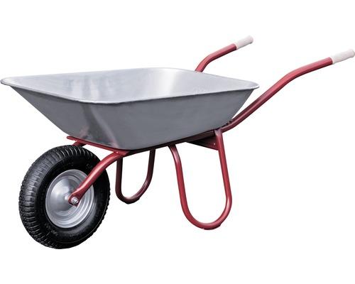 CAPITO Profi Bauschubkarre PRAKTICA 85 Liter Flachmulde, Lufträder mit Blockprofil und Stahlfelge inkl ergonomische Buchenholzgriffe