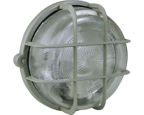 Lampe ronde avec panier en plastique gris