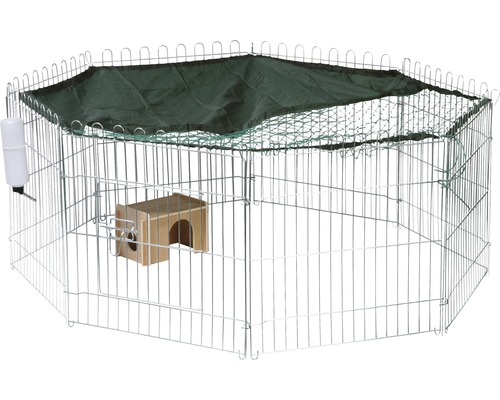 Freigehege dobar Zink 8-teilig inkl. Schutznetz, Häuschen und Trinkflasche 135x56 cm