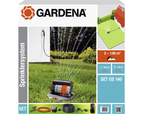 GARDENA Kit de système d''arrosage avec arroseur escamotable OS 140