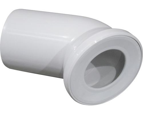 Coude de raccordement pour WC universel 45° blanc