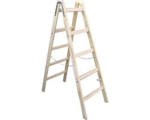 Echelle double en bois Riedel, 2x5 niveaux