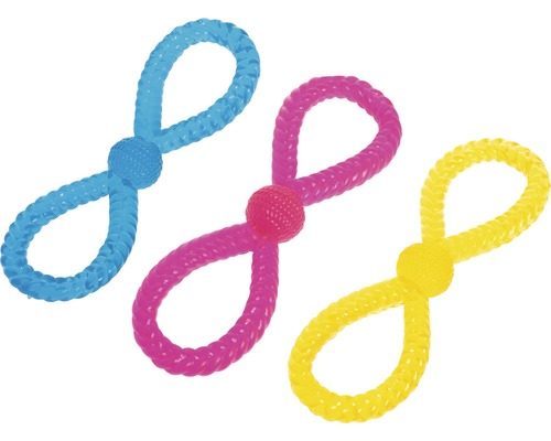 Jouet pour chien nœud 28 cm TPR, couleurs assorties