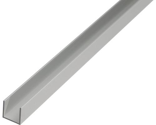 Profilé en U en aluminium argent 15x10x1,5mm, 2m