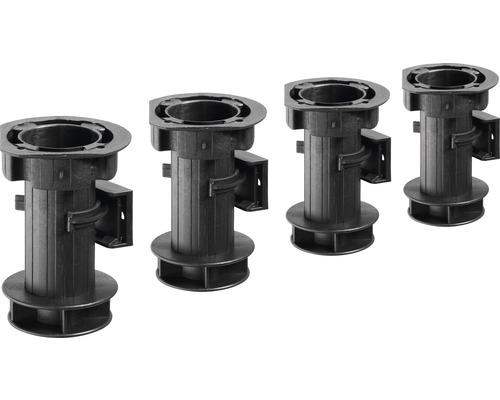 Pied de réglage de socle 100 mm, plastique noir, 4pièces