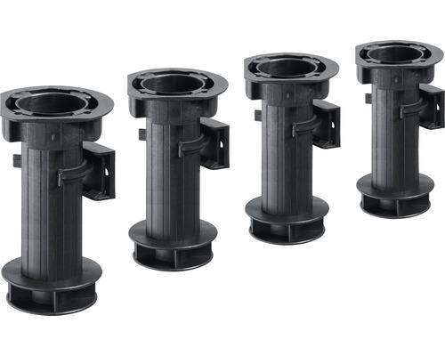 Pied de réglage de socle 150 mm, plastique noir, 4 pièces