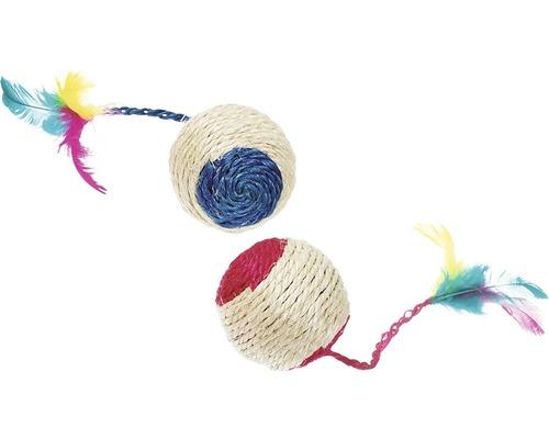 Katzenspielzeug Karlie Sisal Spielball mit Feder und Rassel 6 cm zufällige Farbauswahl