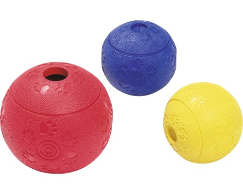 Balle de nourriture Boomer caoutchouc plein, 7 cm, couleurs assorties