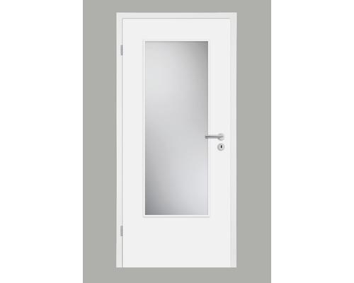 Porte intérieure Pertura Soley laque blanche 86,0x198,5 cm avec découpe G3 tirant gauche (sans vitrage)