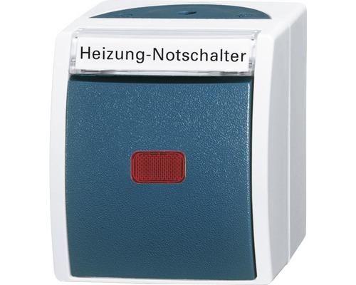 Interrupteur d'arrêt d'urgence chauffage Busch-Jaeger pose en saillie pour pièce humide gris clair/gris Océan 2601/2SKWNH53