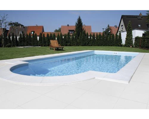 Bordure de piscine margelle Aquitaine plaque de transition à la terrasse blanc 49,5 x 49,5 x 3,2 cm