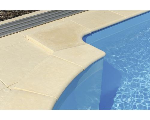Bordure de piscine margelle Bergerac élément plat avec courbe intérieure pour arrondi de rayon 150 cm champagne 50 x 31 x 3,2 cm