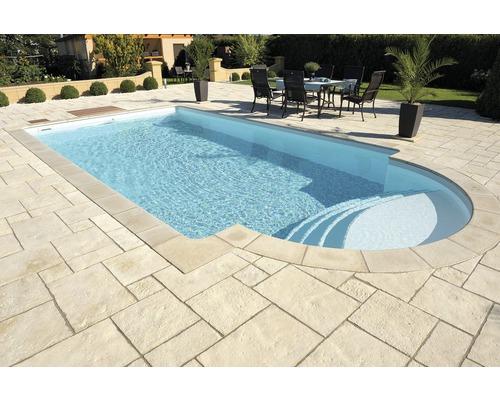 Bordure de piscine margelle Bergerac élément plat escalier romain à gauche champagne 35 x 35 x 3,2 cm