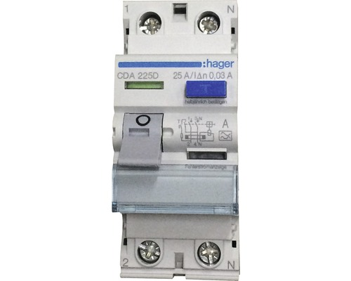 Disjoncteur différentiel Hager interrupteur FI CDA225D 25A 30mA 2 pôles