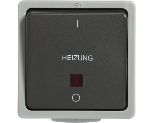 Interrupteur arrêt d''urgence pour chauffage en saillie pour pièce humide gris clair/gris foncé