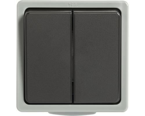 Interrupteur de série en saillie pour pièce humide gris clair/gris foncé