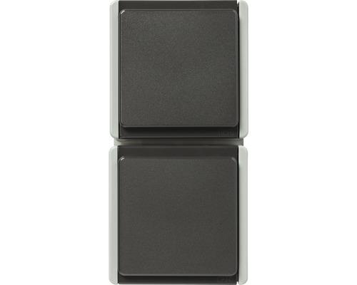 Double prise en saillie pour pièce humide verticale gris clair/gris foncé