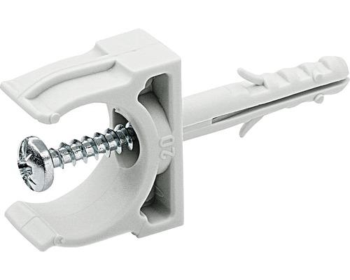 Collier de serrage à enficher M20 pour tuyau d''installation, gris 10 unités