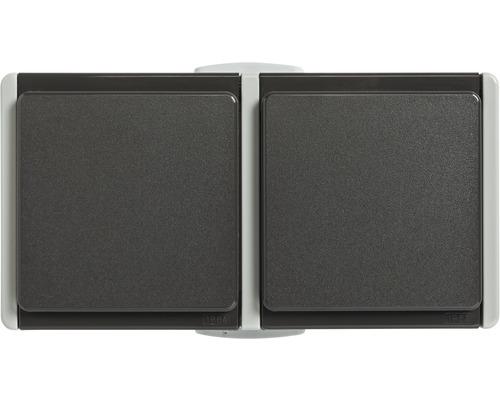 Double prise IP54 pour pièce humide pose en saillie horizontale gris clair/gris foncé Standard IP 54