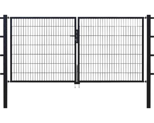 Portail double en grillage, 300 x 100 cm, avec poteaux 8 x 8 cm, anthracite