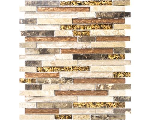 Mosaïque en verre avec de la pierre naturelle brune or 30x34 cm