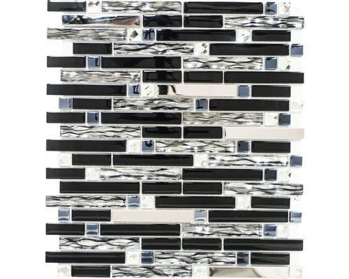 Mosaïque en verre noire argent 30x34 cm