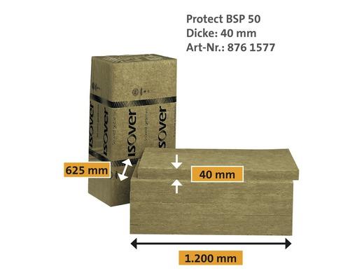 Panneau de protection au feu ISOVER Protect BSP 50 pour l''aménagement intérieur catégorie de conductivité thermique 035 1200 x 625 x 40 mm