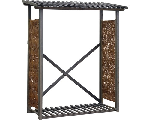 Abri pour bois de chauffage en osier 140x57x195/210 cm