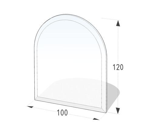 Plaque de cheminée verre semi-circulaire 100x120 cm avec chanfrein 20 mm