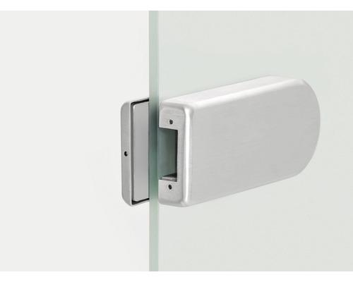 Contre-boîtier pour serrure de porte vitrée Alu anodisé en demi-cercle EV1