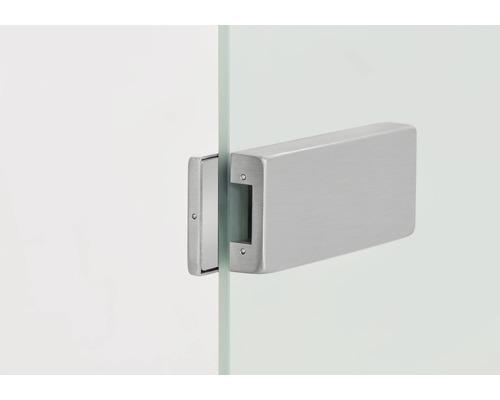 Contre-boîtier pour serrure de porte vitrée aspect acier inoxydable