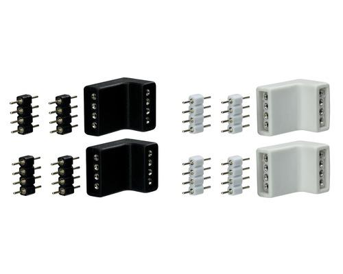 Connecteur d''angle YourLED noir/blanc 4 unités 12V