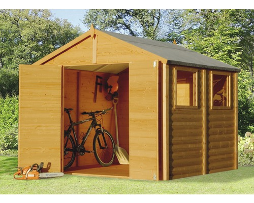 Abri de jardin Blockhaus XL, 244x239 cm, brun clair - HORNBACH ...