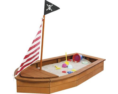 Bac à sable Sun bâteau en bois avec un drapeau de pirates 160x90x28 cm nature