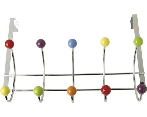 Portemanteau 405mm métal/porcelaine multicolore, 5 crochets