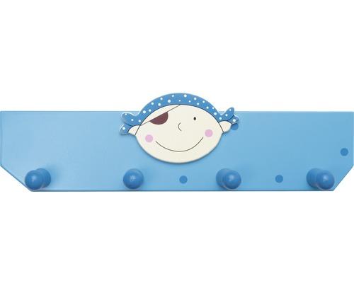 Portemanteau enfants 350mm pirate bleu, 4 crochets