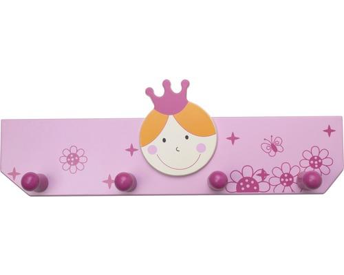 Portemanteau enfants 350mm princesse rose clair/rose vif, 4 crochets