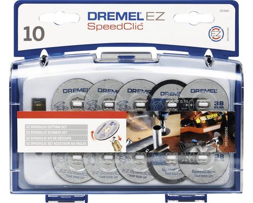 Coffret d''accessoires Dremel EZ SpeedClic pour la découpe SC690 (mandarin EZ SpeedClic, 4 disques à tronçonner pour métaux, 3 disques à tronçonner fins, 3 disques à tronçonner pour plastiques, coffret)