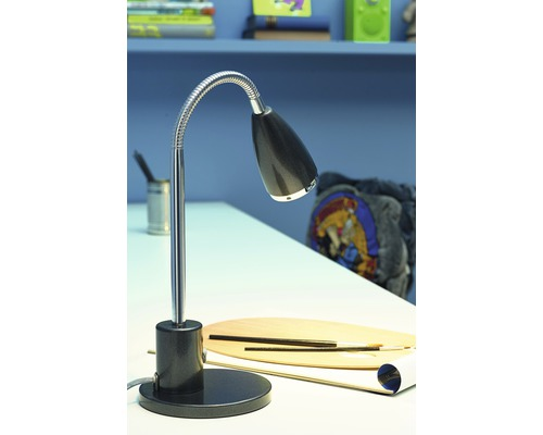 Lampe de bureau LED 1x3W 200 lm 3000 K blanc chaud H 320 mm Fox anthracite/chrome
