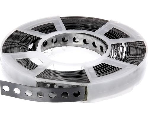 Bande perforée et bande de montage 17mm, rouleau de 10 m, acier inoxydable