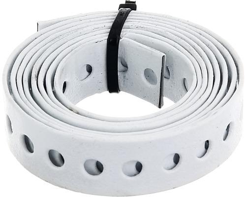 Bande perforée et bande de montage 17mm, rouleau de 1,5 m, galvanisée, blanche avec un revêtement en plastique