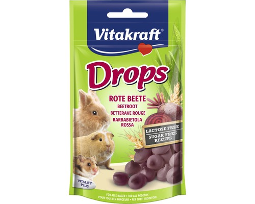 Snack pour rongeurs Vitakraft pastilles à la betterave, sans lactose, 75 g