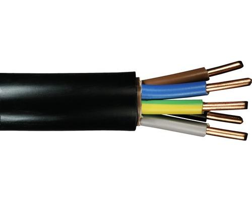 Câble souterrain NYY-J 5x6 mm² noir, marchandise au mètre sur mesure disponible dans votre magasin Hornbach