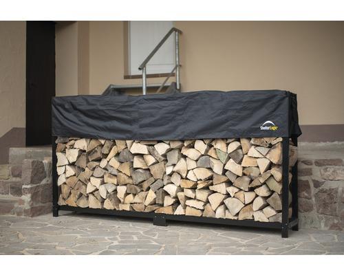 Patin d''empilage de bois de cheminée avec couvercle 239x36.3x118.9 cm
