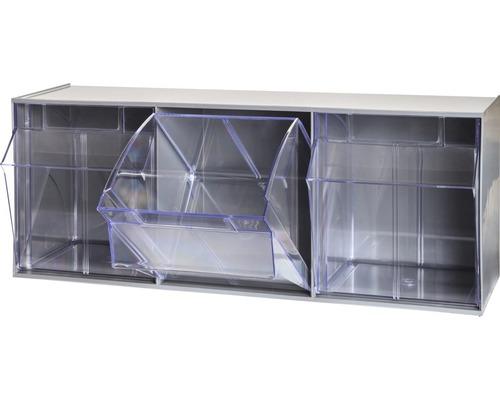 Casier transparent 3 cases 600mm gris Multistore
