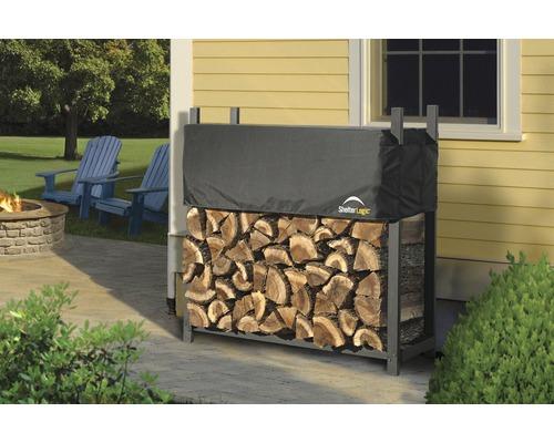 Patin d''empilage de bois de cheminée avec couvercle 120 x 36.3 x 118.9 cm